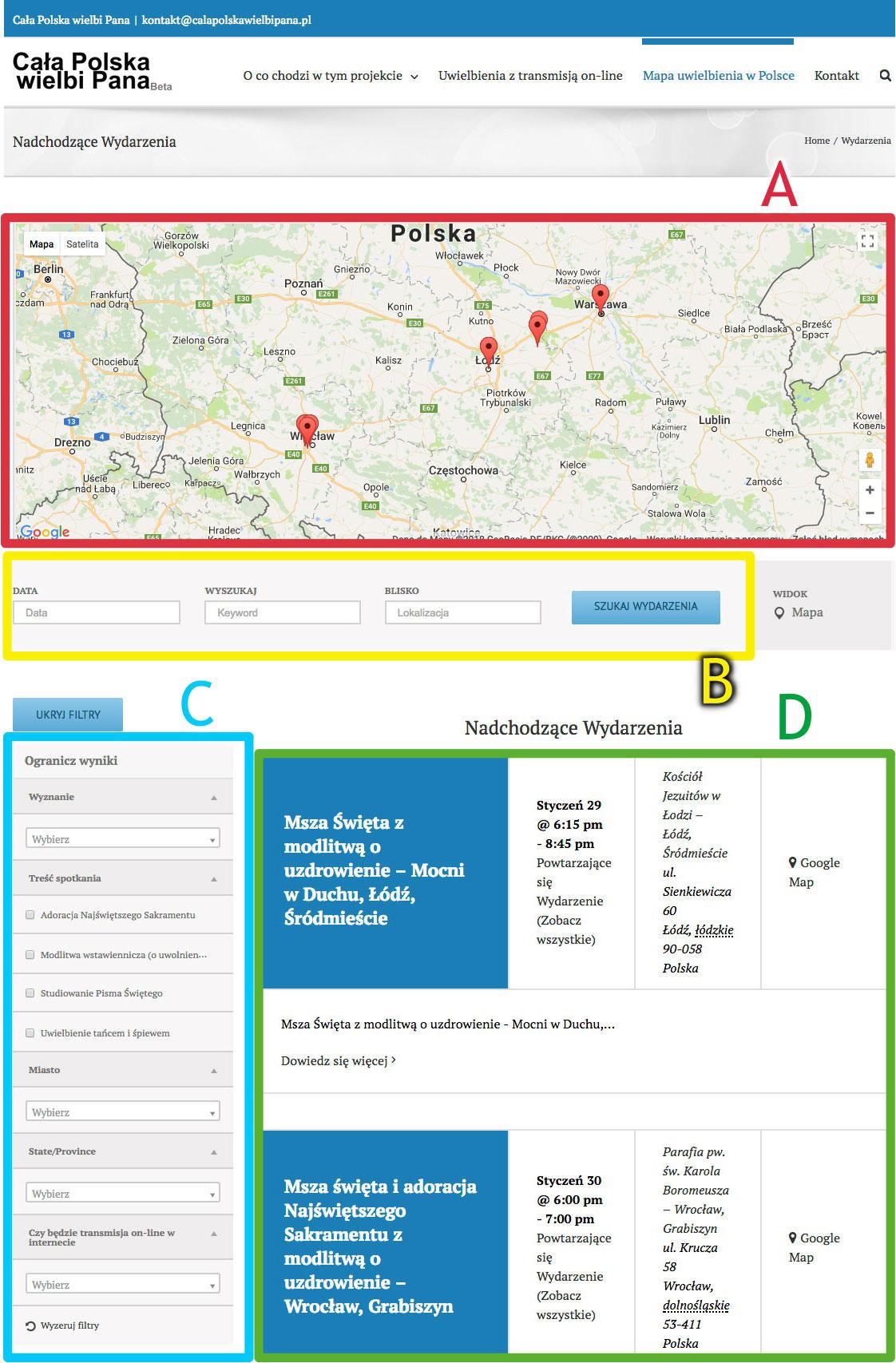 Mapa uwielbienia w Polsce - funkcjonalności